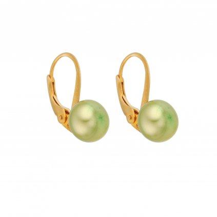 Pozlacené perlové náušnice EMMA perla AA zelená EM341 Perlomanie