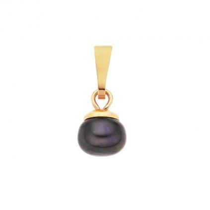 Pozlacený přívěsek LENA perla AA černá LE802, Perlomanie