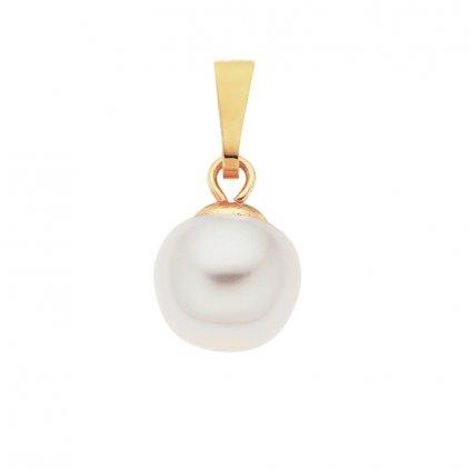 Pozlacený přívěsek perla AA bílá LE831