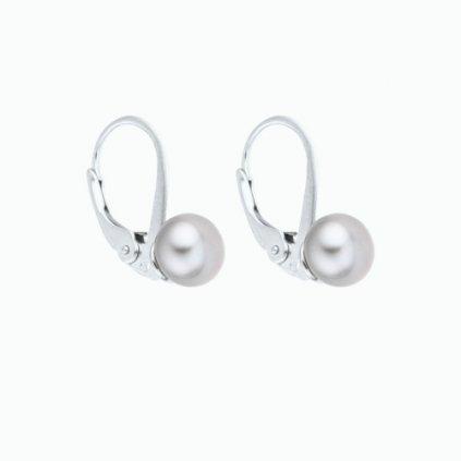 Perlové náušnice EMMA perla AA šedá EM305 Perlomanie