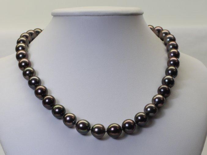 náhrdelník z tahitských perel 10-11 mm se zlatým uzávěrem