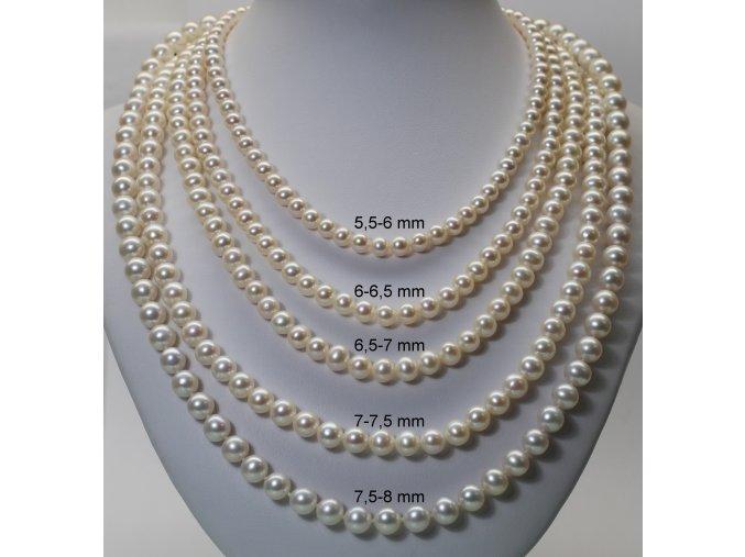 náhrdelník ze sladkovodních perel 7,5-8 mm se stříbrným uzávěrem