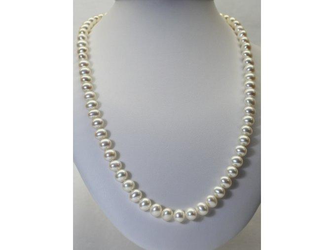 náhrdelník ze sladkovodních perel 7-8 mm, 60 cm se stříbrným uzávěrem