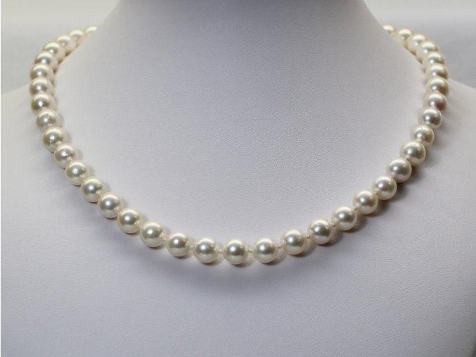 náhrdelník z mořských perel 7,5-8 mm se zlatým uzávěrem