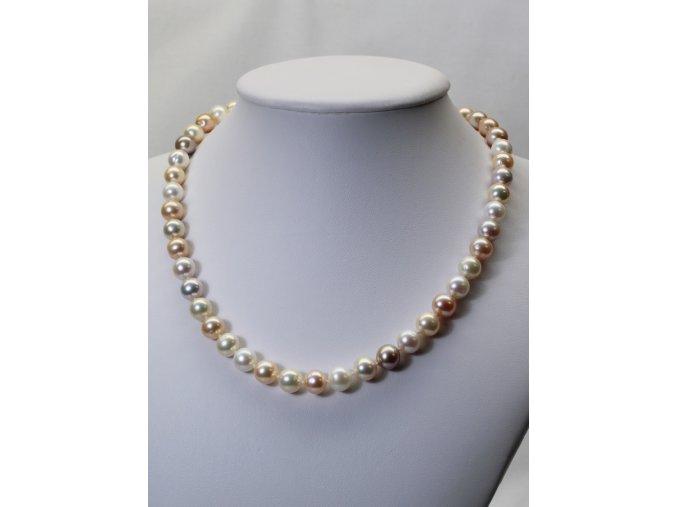 náhrdelník ze sladkovodních perel 7,5-8,5 mm se stříbrným uzávěrem