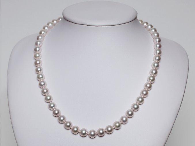náhrdelník z mořských perel 7,5-8 mm se zlatou karabinou