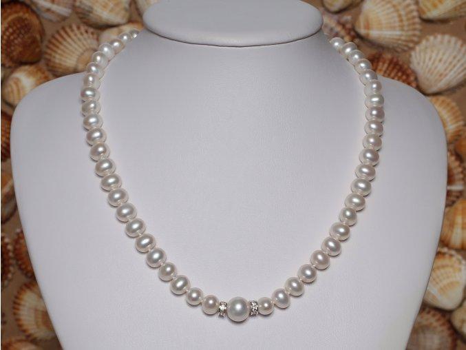 náhrdelník ze sladkovodních perel 7-7,5 mm se stříbrným uzávěrem