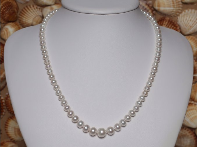 náhrdelník ze sladkovodních perel 4-9,5 mm se stříbrným uzávěrem