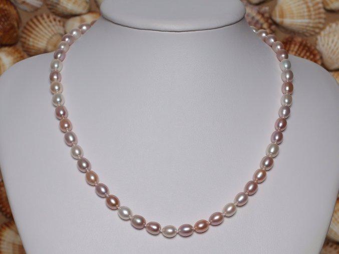 náhrdelník ze sladkovodních perel 6-6,5 mm se stříbrným uzávěrem