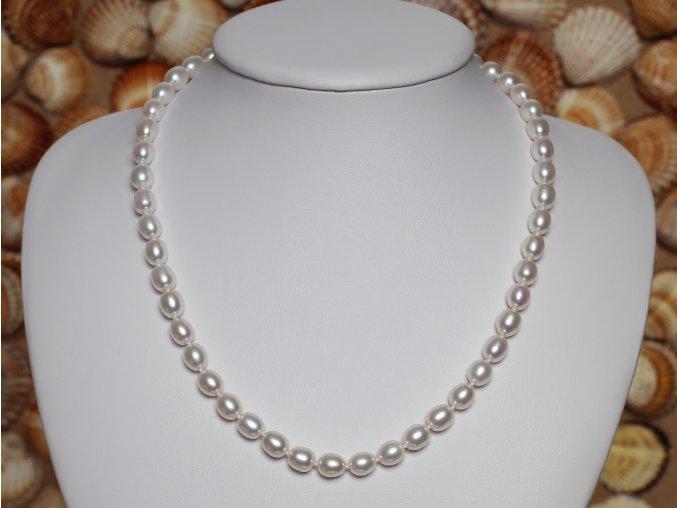 náhrdelník ze sladkovodních perel 6,5-7 mm se stříbrným uzávěrem