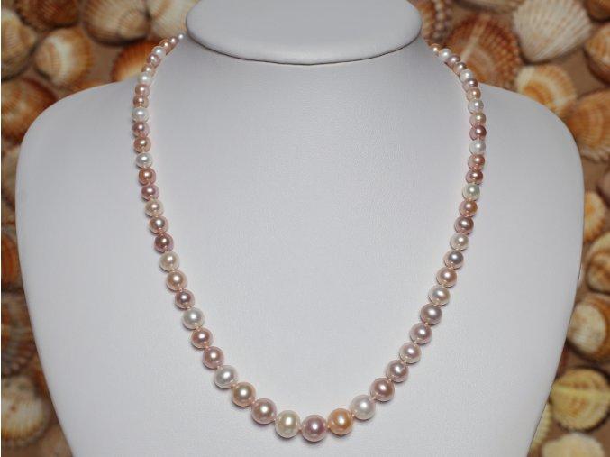 náhrdelník ze sladkovodních perel 4-8,5 mm se stříbrným uzávěrem