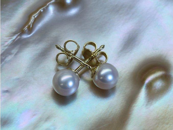 zlaté náušnice s mořskými perlami 6,5-7 mm na šroubek či puzetu