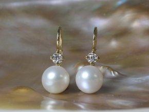 zlaté náušnice se sladkovodními perlami kulatými 7,5-8 mm na patent