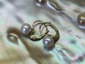 zlaté náušnice se sladkovodními perlami kulatými 6,5-7 mm na patent