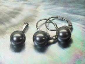 náušnice a přívěsek z bílého zlata s tahitskými perlami 9-9,5 mm