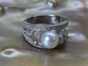 stříbrný prsten se sladkovodní perlou 7,5-8 mm