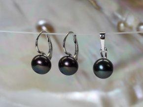 zlaté náušnice a přívěsek se sladkovodními barvenými perlami buton 8-8,5 mm