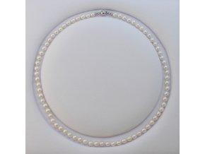 náhrdelník z mořských perel 5,5-6 mm se zlatým uzávěrem