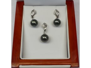 náušnice a přívěsek z bílého zlata s tahitskými perlami a brilianty