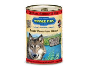 Winner Plus konzerva Super Premium Menue pes kuřecí+losos+rýže 800g