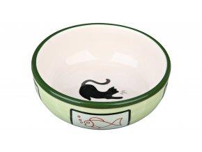 Keramická miska s kočkou a rybou, glazura 0,35l/12,5cm
