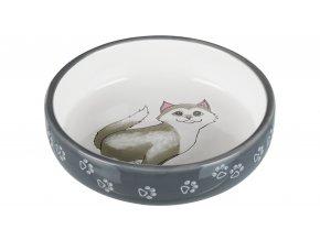 Keramická miska pro kočky s krátkým nosem šedo/bílá