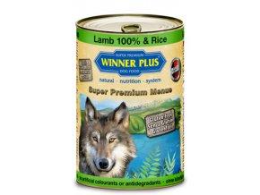 Winner Plus konzerva Super Premium Menue pes Jehněčí 100%+rýže 400g