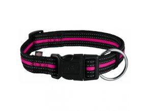 FUSION nylonový obojek - černo-růžový