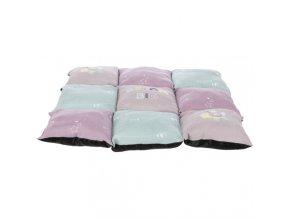 JUNIOR barevná měkká podložka PATCHWORK 60 x 60 cm světle fialová/mátová/růžová