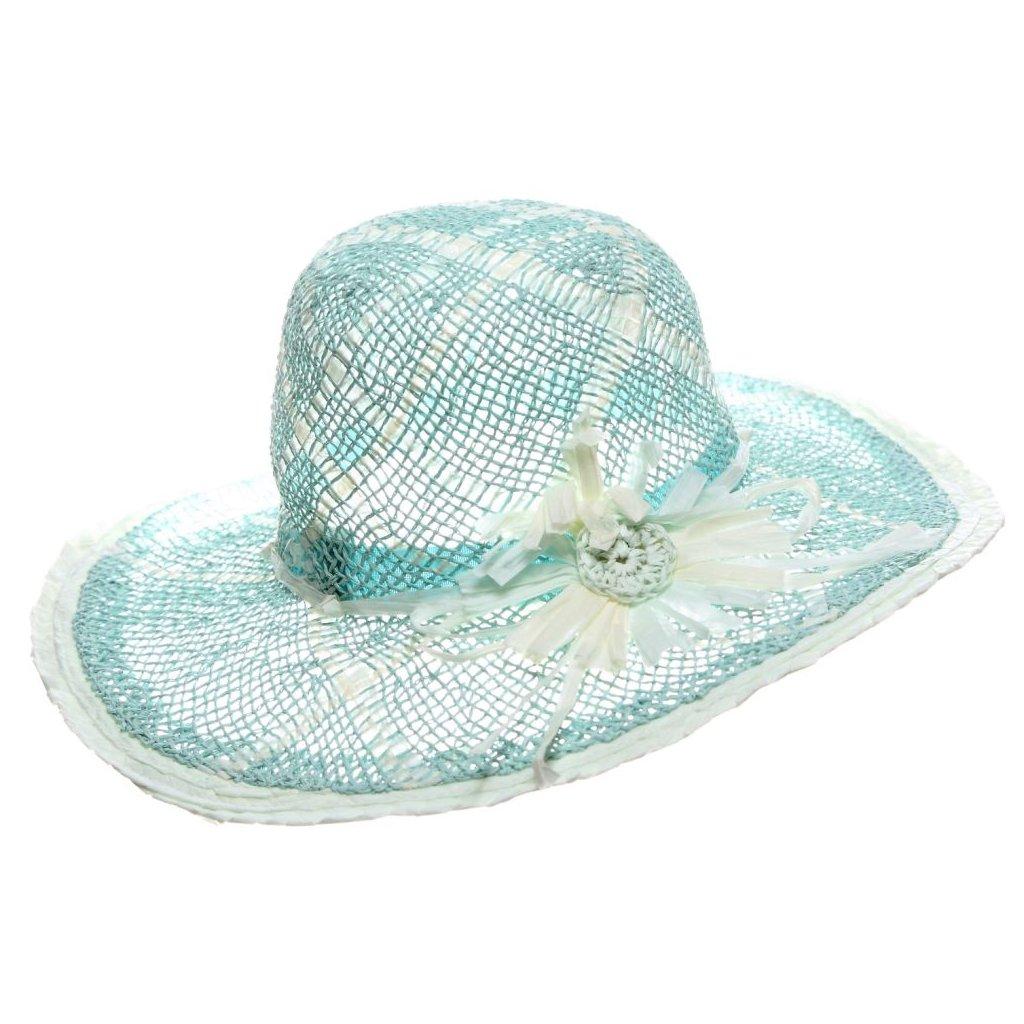 Dámský letní tyrkysový klobouk
