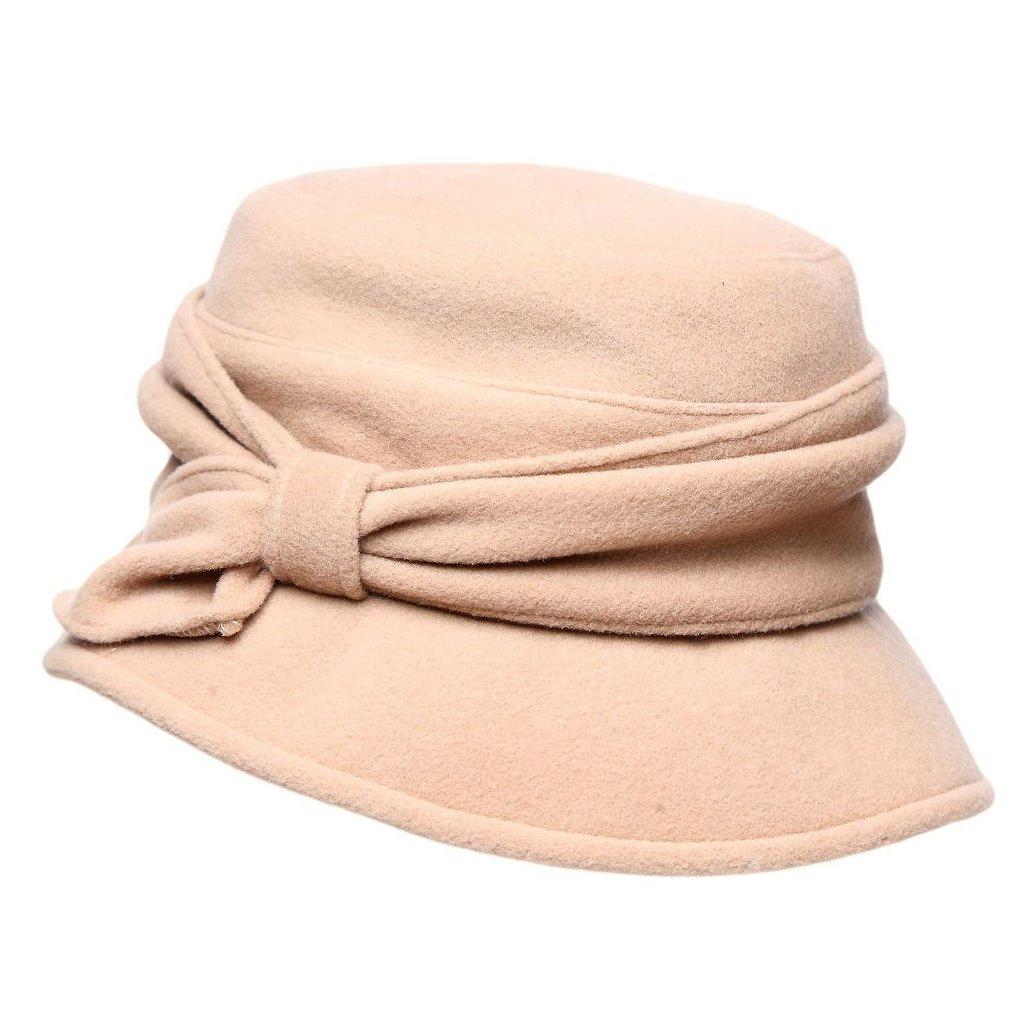 Dámský béžový klobouk s mašlí