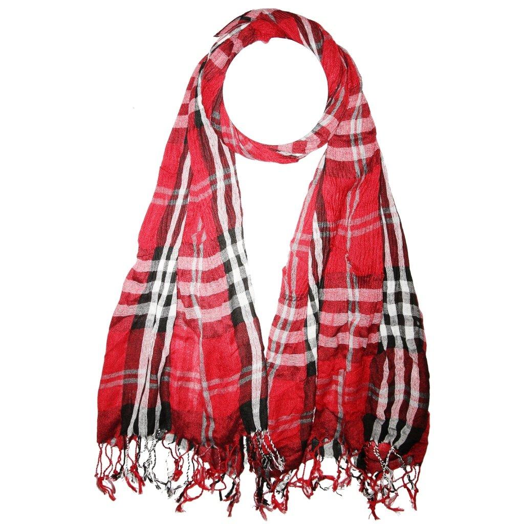 Pánská červená kostkovaná šála