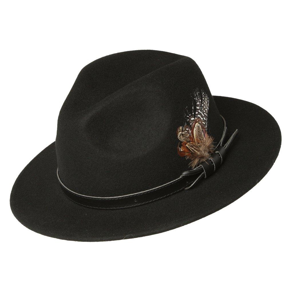 Pánský černý klobouk zdobený peřím