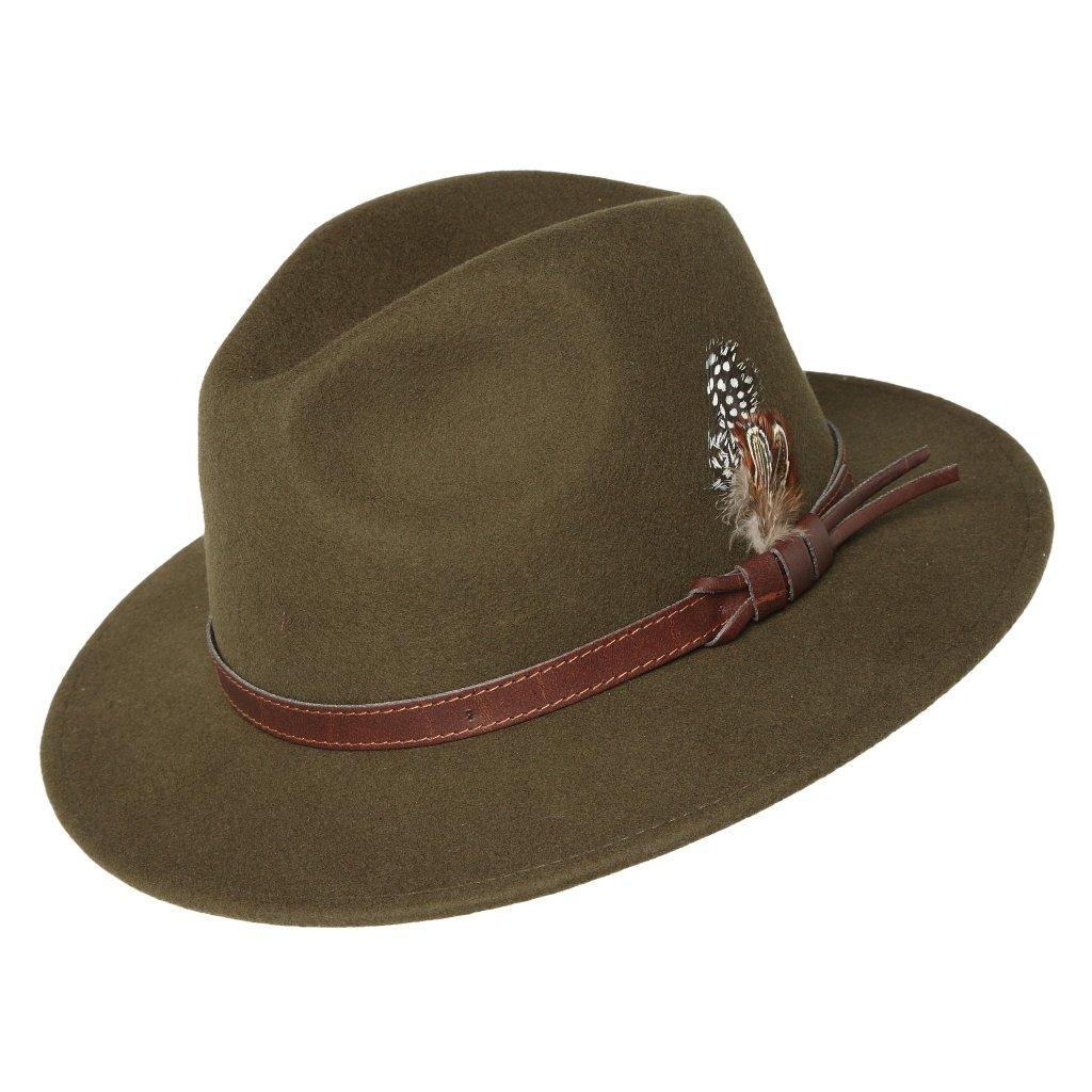 Pánský zelený klobouk zdobený peřím