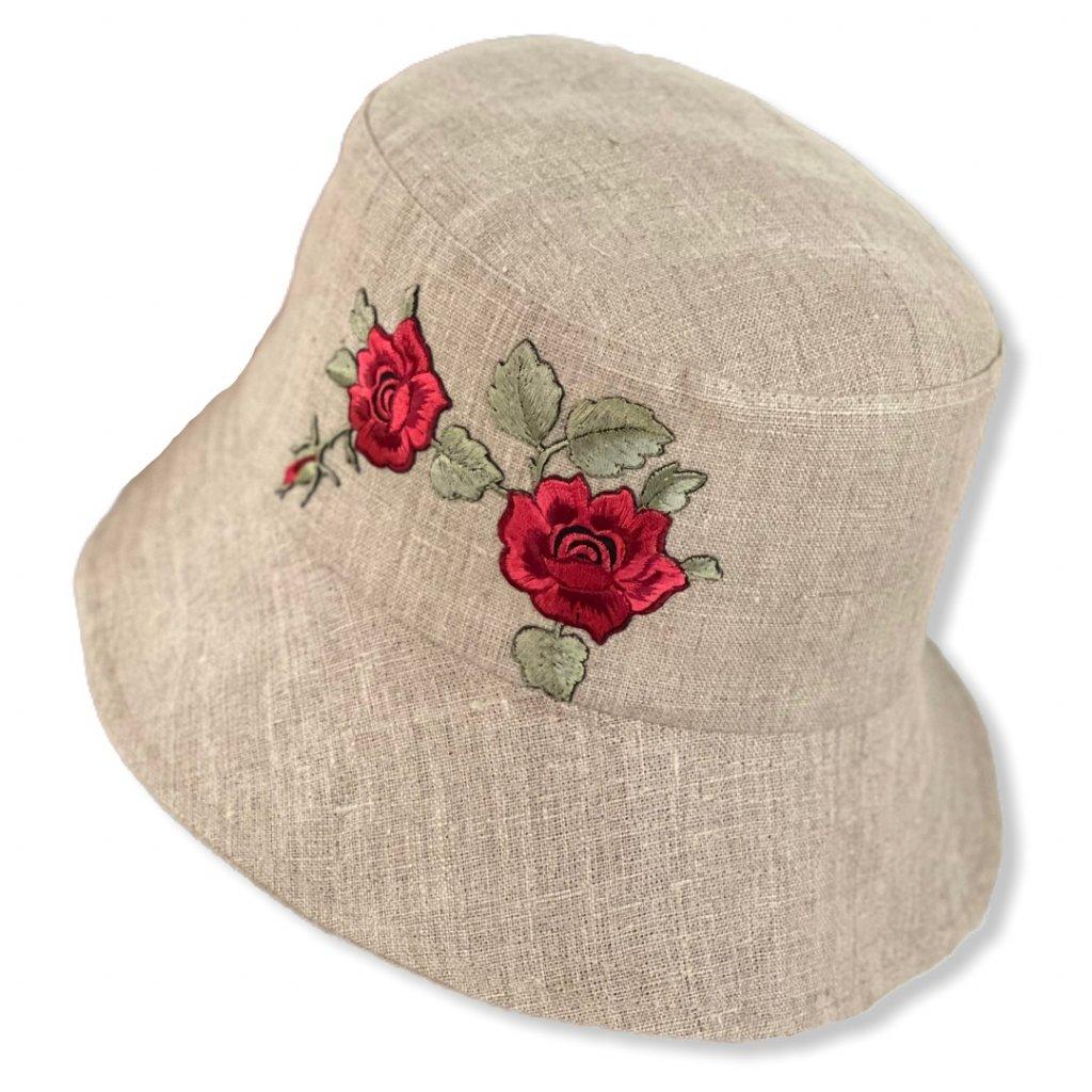 Dámský lněný klobouk s vyšívanou kytkou