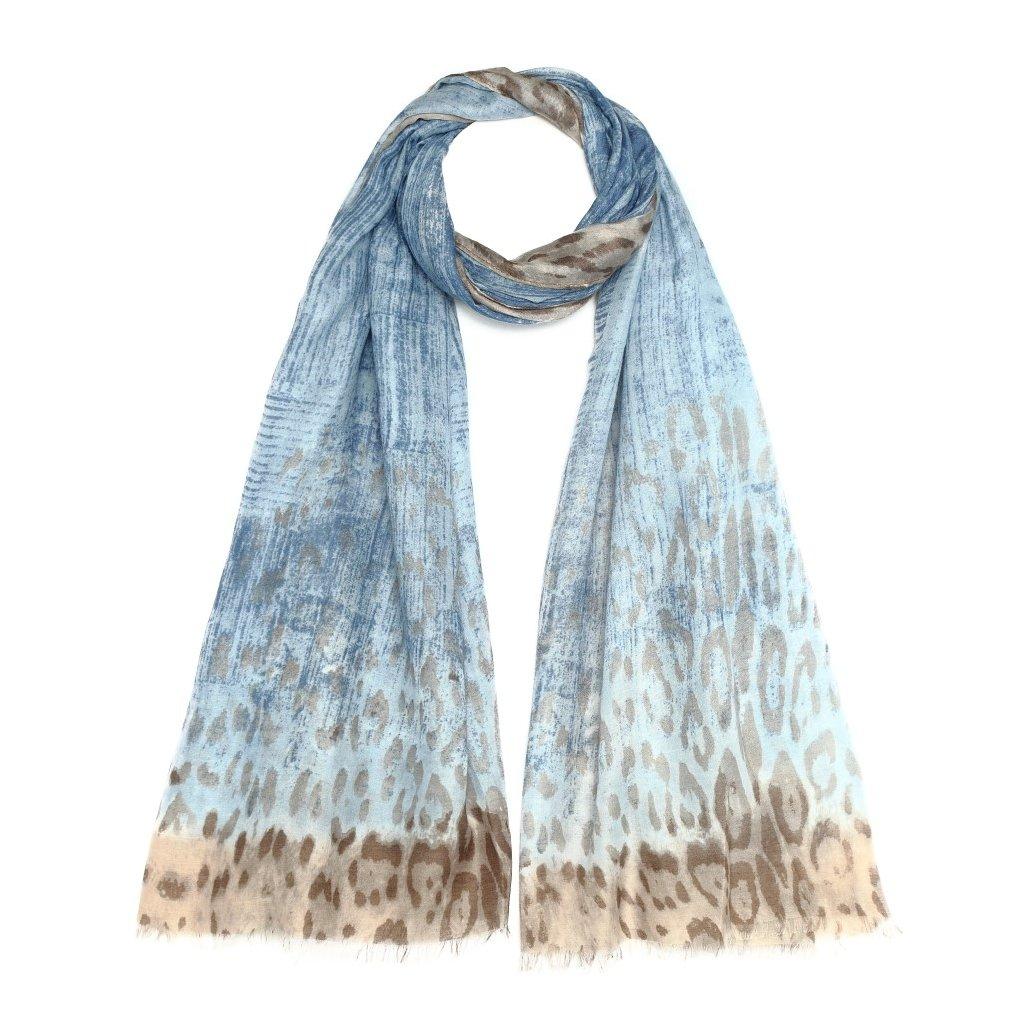 Dámská letní modro béžová šála