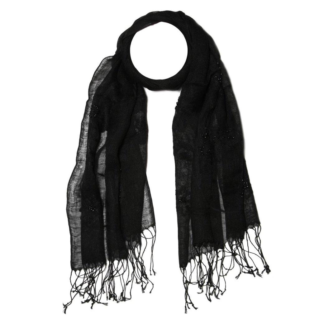 Dámská lněná černá šála