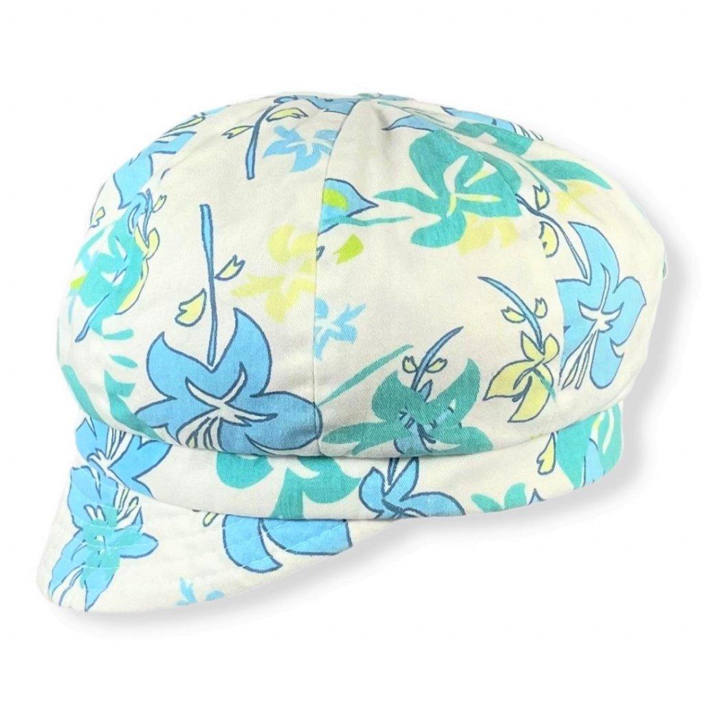 Dámská květovaná modrá čepice