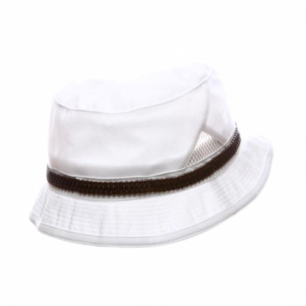 """Pánský letní bílý """"Bucket hat"""" s koženkovým páskem"""