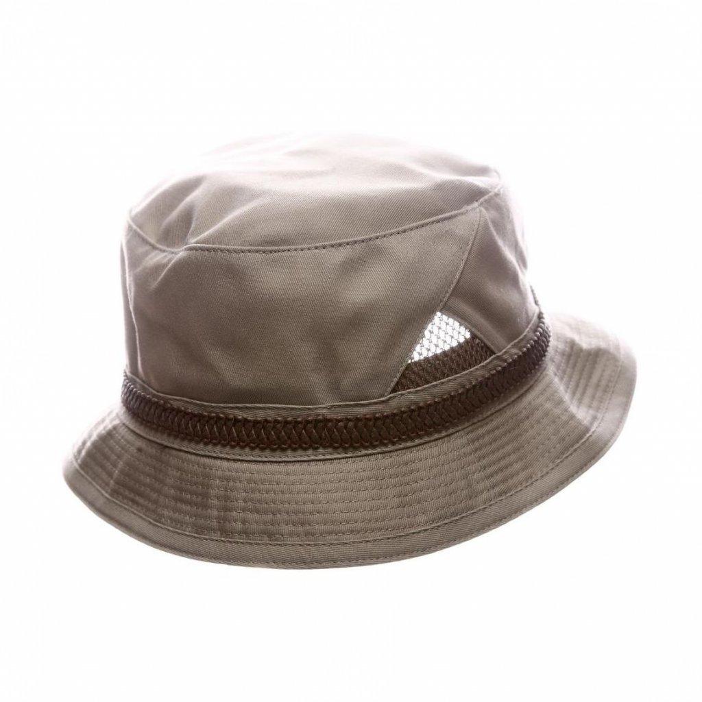 Pánský letní béžový Bucket hat s koženkovým páskem