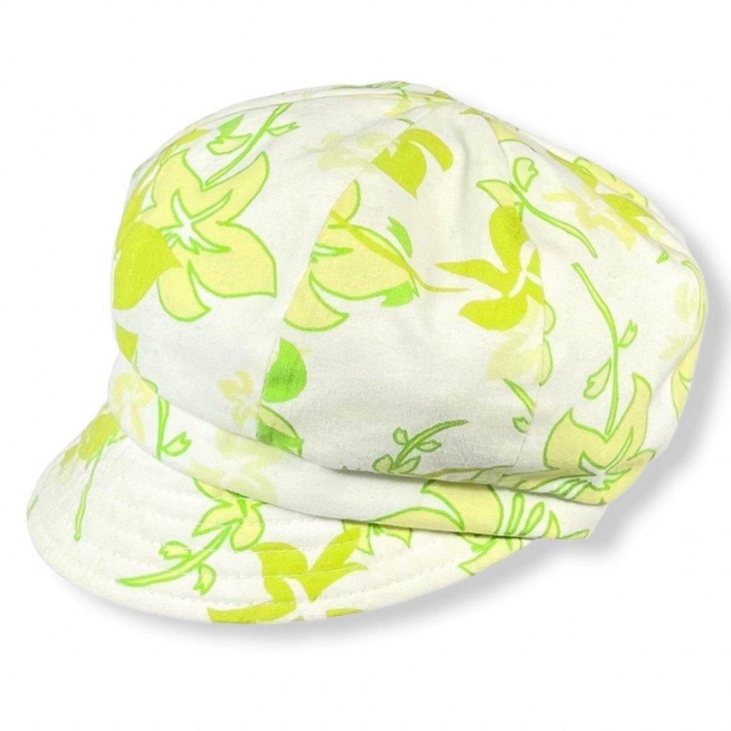 Dámská květovaná zelená čepice