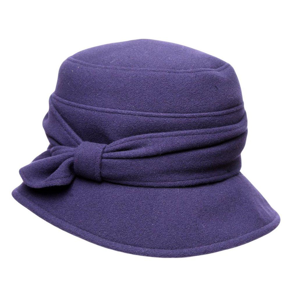Dámský fialový klobouk s mašlí