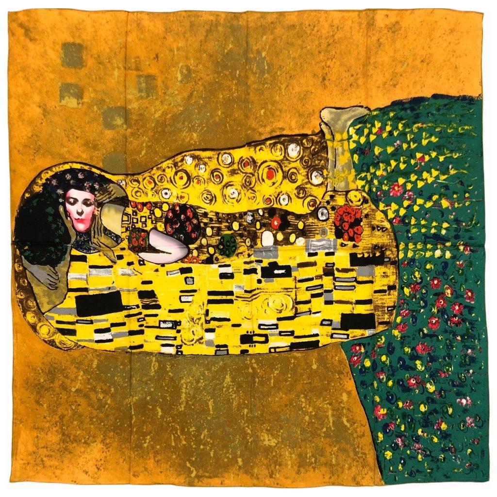 HEDVÁBNÝ ŠÁTEK Gustav Klimt - Polibek