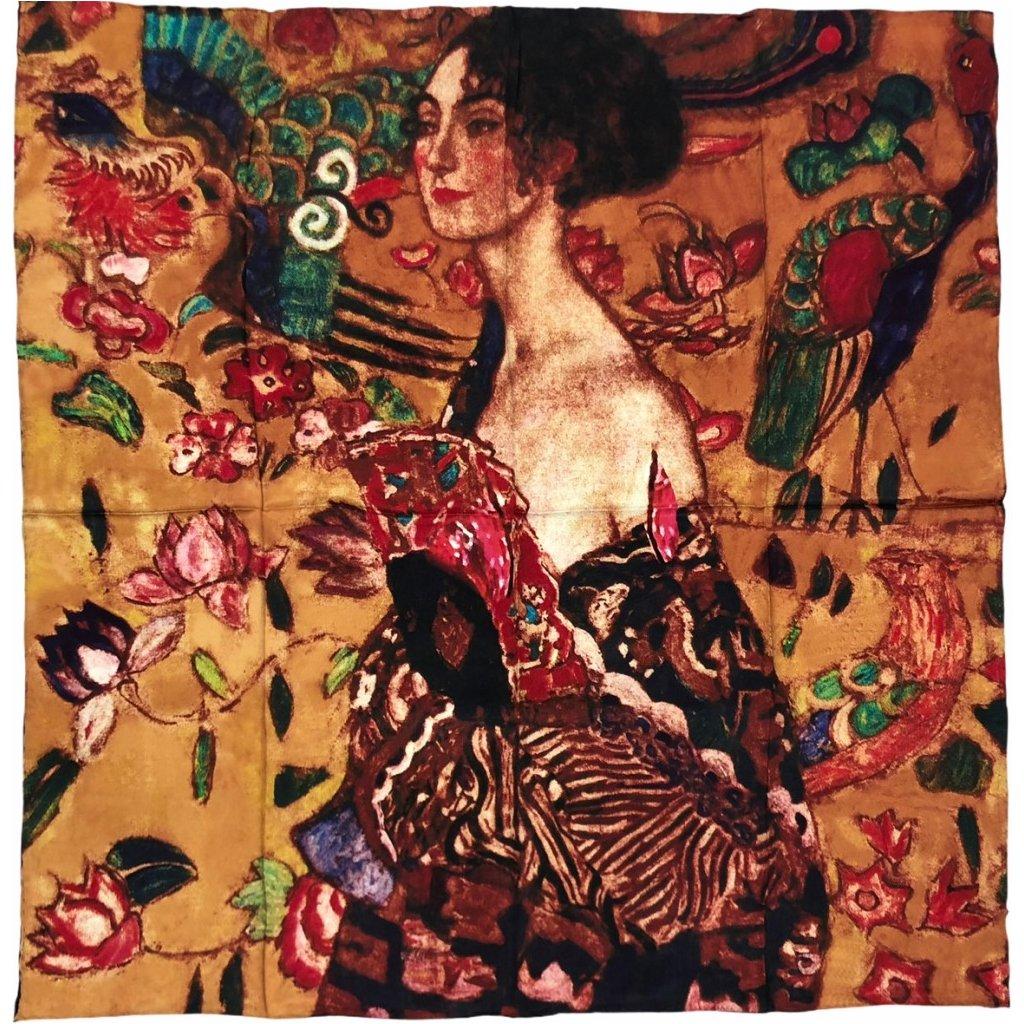 HEDVÁBNÝ ŠÁTEK Gustav Klimt - Dáma s vějířem