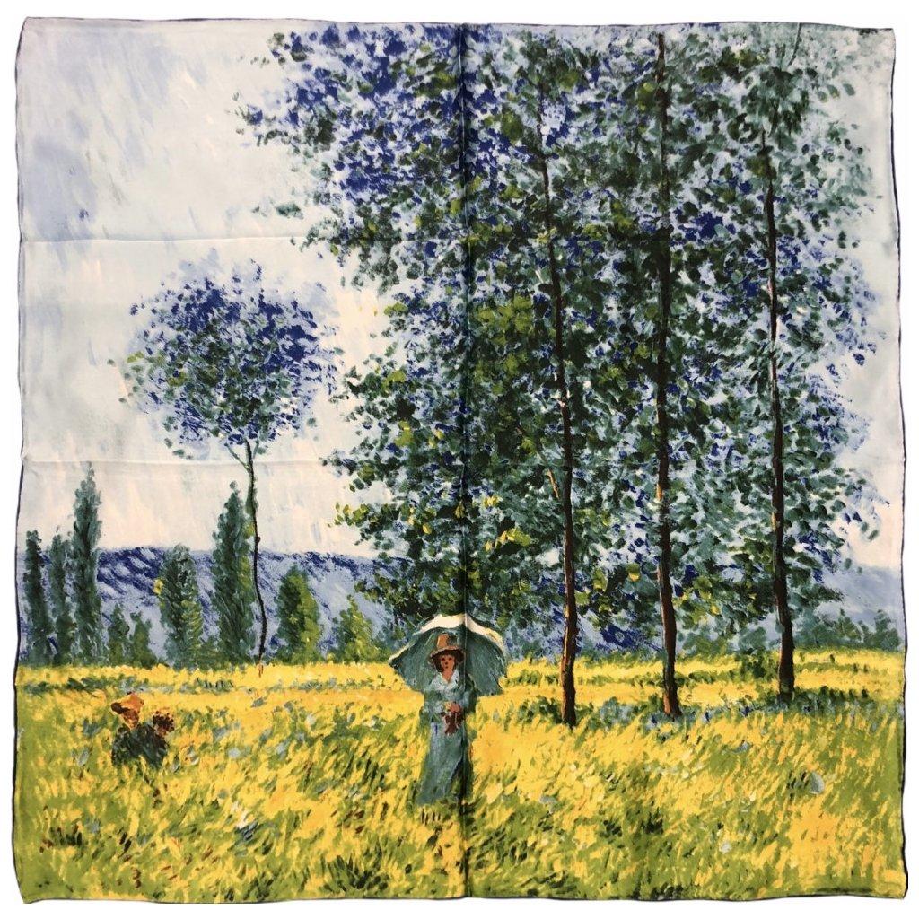 HEDVÁBNÝ ŠÁTEK Claude Monet - Pole na jaře