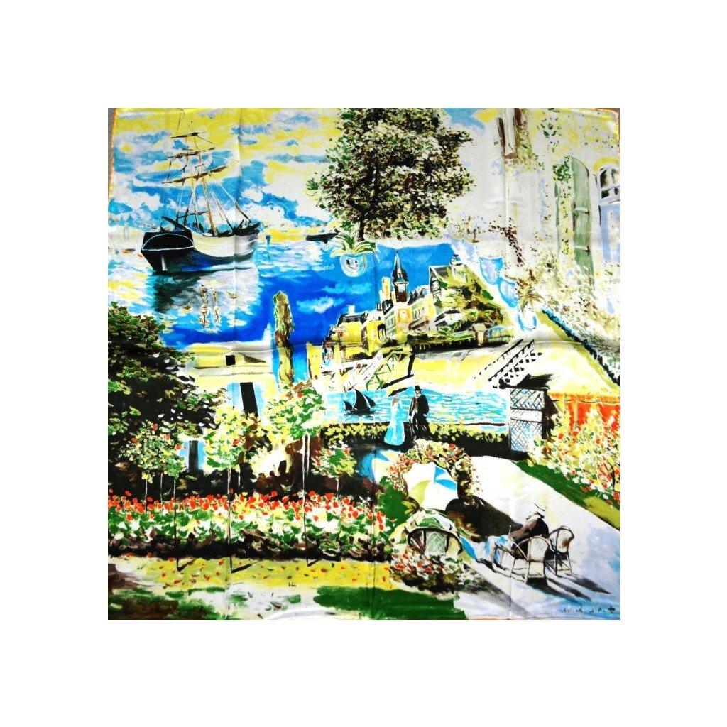 HEDVÁBNÝ ŠÁTEK Claude Monet - Zahrada