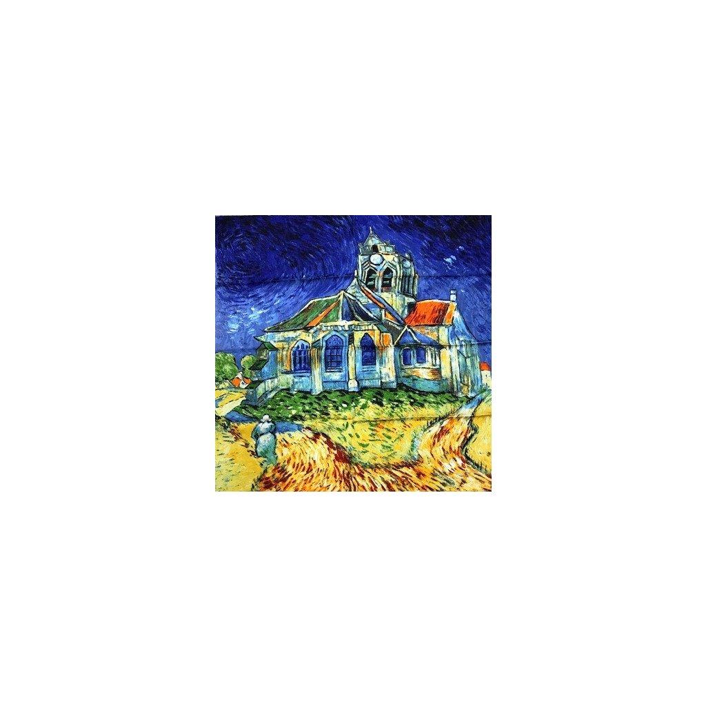 HEDVÁBNÝ ŠÁTEK Van Gogh - Kostel v Auvers