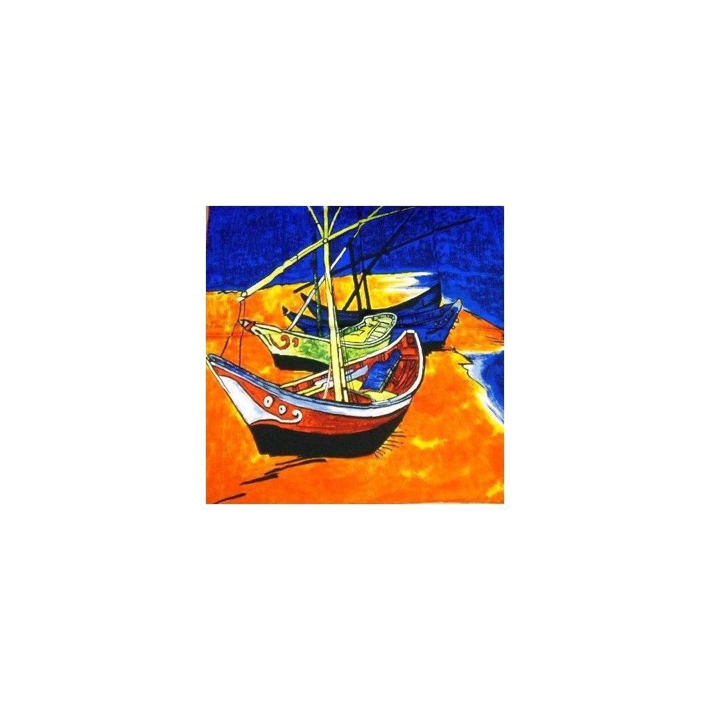 HEDVÁBNÝ ŠÁTEK Van Gogh - Rybářské lodě