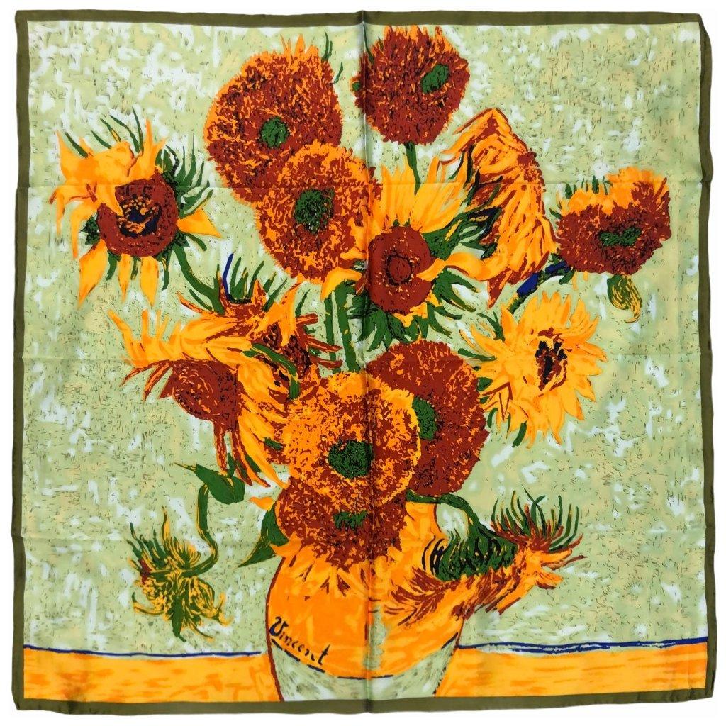 HEDVÁBNÝ ŠÁTEK Van Gogh - Slunečnice