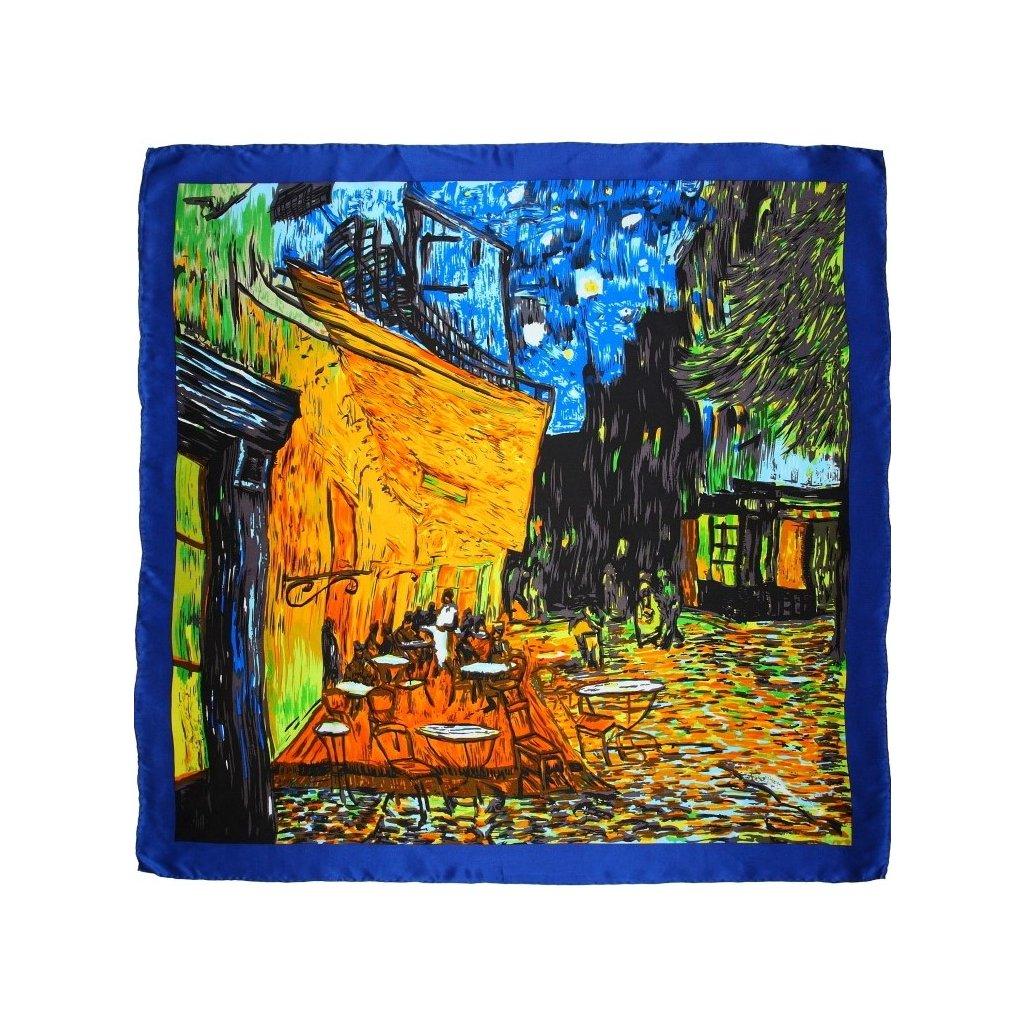 HEDVÁBNÝ ŠÁTEK Van Gogh - Terasa kavárny